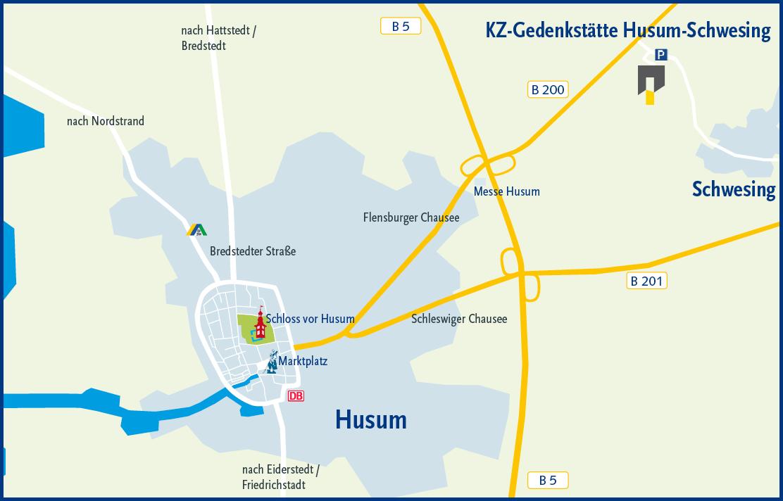Husum Karte.Anfahrt Freundeskreis Der Kz Gedenkstatte Husum Schwesing